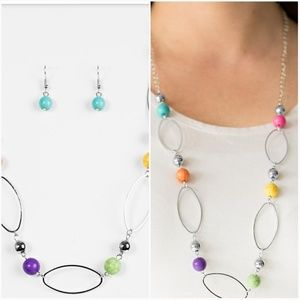 SIMPLE STONEWORK MULTI-NECKLACE/EARRING SET